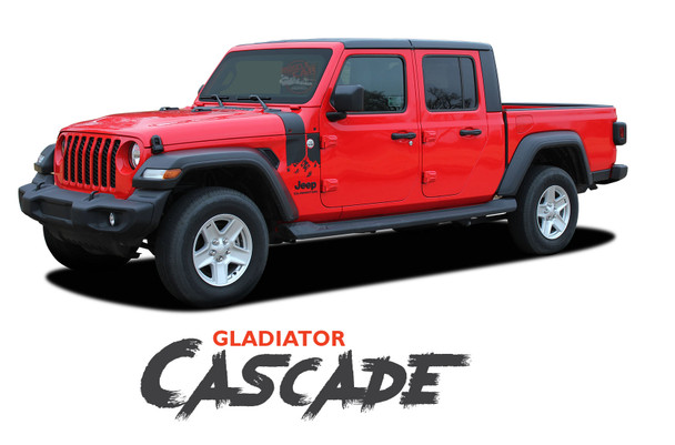 Jeep Gladiator CASCADE Side Body Mountain Peak Vinyl Graphics Decal Stripe Kit for 2020-2021 Models