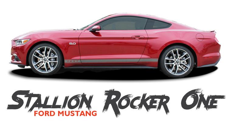 Ford Mustang STALLION ROCKER ONE Lower Door Rocker Panel Body Stripes Vinyl Graphic Decals 2015 2016 2017