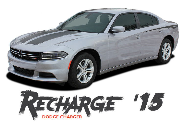Dodge Charger RECHARGE 15 Split Hood and Rear Quarter Panel Sides Vinyl Graphic Decals and Stripe Kit 2015 2016 2017 2018 2019 2020