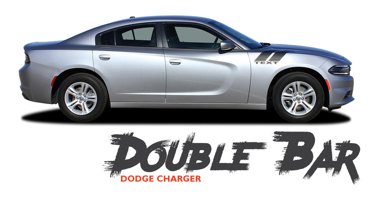 Dodge Charger RECHARGE DOUBLE BAR 15 Hood to Fender Hash Marks Vinyl Graphic Decals Stripe Kit for 2015 2016 2017 2018 2019 2020