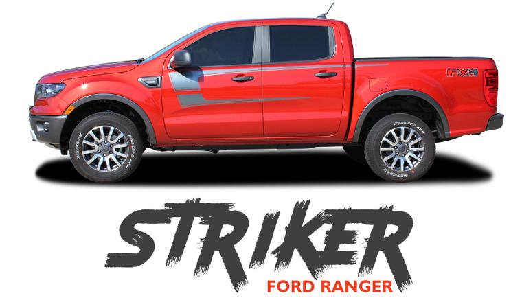 2019 2020 Ford Ranger Upper Body Door Decals STRIKER Stripes Vinyl Graphics Kit 2019 2020 2021