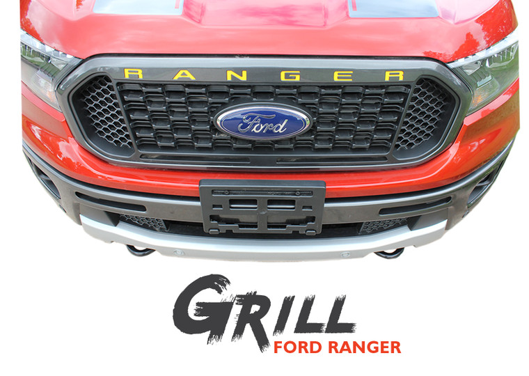 2019 Ford Ranger Grill Letters Inlay Decals Stripes GRILL TEXT Vinyl Graphics Kit 2019 2020 2021