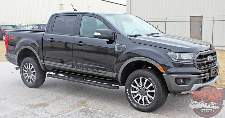 Side of 2019 Ford Ranger Side Decals RAPID ROCKER STRIPES 2019-2020