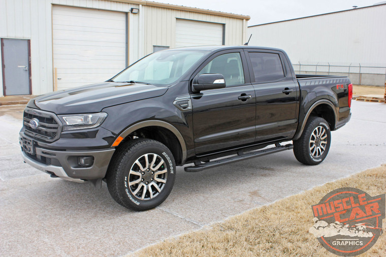 Side View of blue 2019 Ford Ranger Stripes UPROAR SIDE DECALS 2019 2020