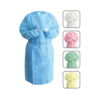 NIVO Gown, Blue, Isolation Gown with Knitt Cuff, One Size Fits All, 50pk