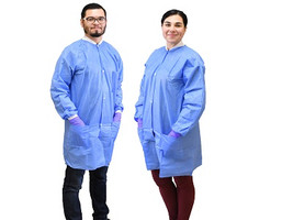 NIVO Lab Coat Large Blue Disposables Fluid Resistant with Buttons 10pk