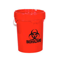Solmetex Biohazard & Sharps Container Disposal - Red, 5 Gallon with Lid