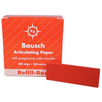 "Bausch Articulating Paper Strips, .008"", 200 microns, Red, Box of 300."