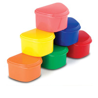 Plasdent Denture Box, Plastic with Hinged Lid, Assorted Colors, Box of 12.