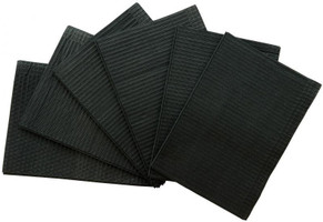 """Patient Bibs Black, 13"""" x 18"""" 2-Ply Paper/1-Ply Poly, Box of 500."""
