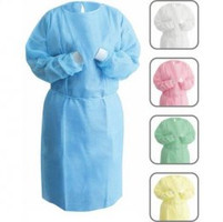NIVO Gown, Yellow, Isolation Gown with Knitt Cuff, One Size Fits All, Package of 50.