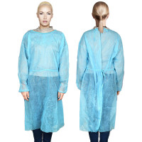 House Brand Isolation Gown with Elastic Cuff - Blue, one size fits all, 50pk