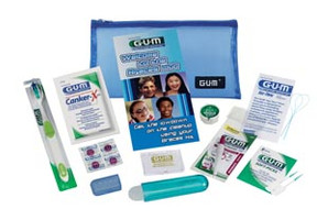 Premium Clear Kit Includes: SuperTip® Toothbrush, Clear Zippered Bag, Orthodontic Travel Toothbrush, ButlerWeave® Mint Waxed Floss 12 yd, Go-Betweens® Cleaners, Orthodontic Wax, Antibacterial Toothbrush Travel Cap, Eez-Thru® Floss Threaders, Red-Cote