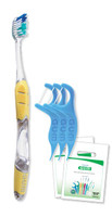 Adult Complete Care Patient Pack Includes: 144 GUM® Complete Care Adult Toothbrushes, 144 Eez-Thru Vitamin E & Fluoride Flosser 3-Packs, 144 Clear Patient Bags/bx