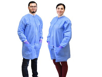 NIVO Coat, Large, Blue, Disposable Lab Coats, Fluid Resistant, with Buttons, Package of 10.