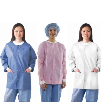 NIVO Jackets, Blue, Medium, Lab Jackets, Fluid Resistant, with Buttons, Package of 10.
