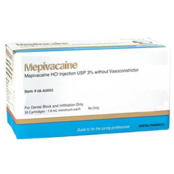 Mepivacaine 3% Plain (Carbocaine Equivilant), Anesthetic, Box of 50.