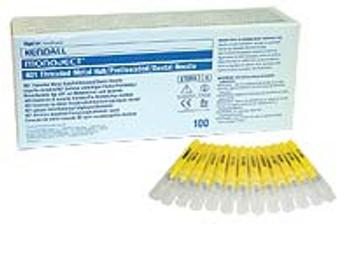 Monoject 27G Long, Sterile Disposable, Plastic Hub, Box of 100.