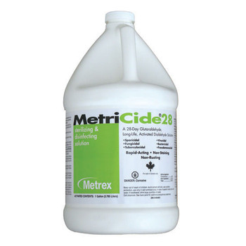 MetriCide 28 High-Level Disinfectant/Sterilant, 2.5% Glutaraldehyde, Case of 4 Gallons.