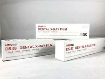 UMG X-Ray Film, DS-58, Size #2, Adult Single Packet Film, D-Speed, Box of 150.