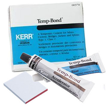 Temp-Bond, Temporary Cement, Package of 1 x 50gm Base, 1 x 15gm Catalyst. (Kerr)