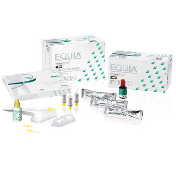 Equia, Shade A2 Intro Kit, Box of 48 Capsules, 1 Equia Coat bottle (4 ml), 1 GC Cavity Conditioner bottle (5.7 ml). Self-Adhesive Posterior Restorative.