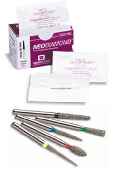 NeoDiamond 2525M, Medium Grit, Modified Flat End Taper Large Disposable Diamond Bur, Package of 25.
