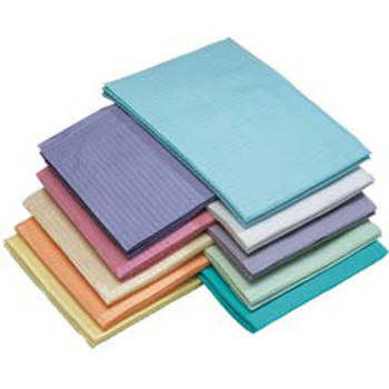 "Patient Bibs Blue, 13"" x 18"" 2-Ply Paper/1-Ply Poly, Box of 500."
