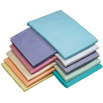 "Patient Bibs Lavender, 13"" x 18"" 2-Ply Paper/1-Ply Poly, Box of 500."