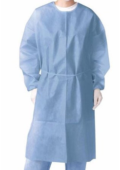 Isolation Gown, blue, Knit Cuff, one size fits all, Box of 50. ***FREE Shipping