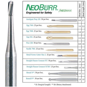 NeoBurr FG 330 Pear Shaped Carbide Bur, Package of 50 Burs.