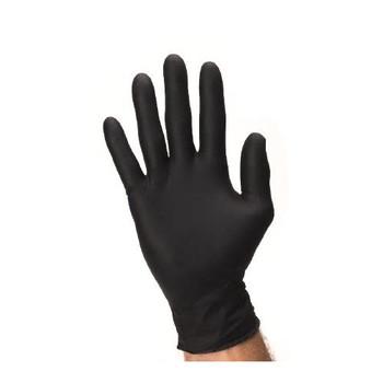 Nitrile Exam Gloves, Medium, Black, Powder-free, Textured Fingertips, Box of 100.