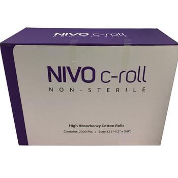 "Nivo Dental Plain Wrapped Cotton Rolls 1-1/2"" x 3/8"", #2 Medium Non-Sterile"