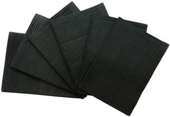 "Patient Bibs Black, 13"" x 18"" 2-Ply Paper/1-Ply Poly, Box of 500."