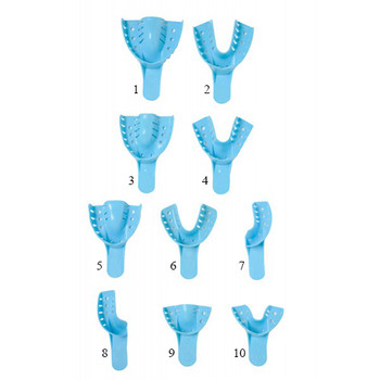 Nivo Disposable Impression Trays #4, Medium Lower Perforated Full-Arch Plastic, Bag of 12.