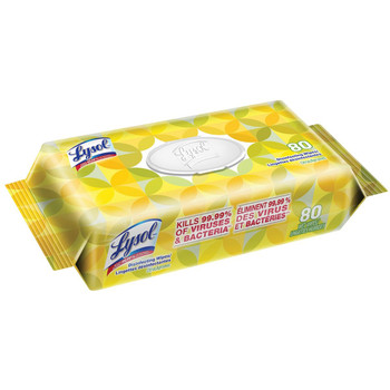 Lysol Disinfecting Wipes Lemon & Lime Blossom Scent 80pk Pouch