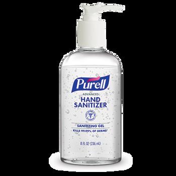 PURELL Advanced Hand Sanitizer Gel 8oz Pump Table Top Round Bottle