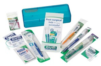 Implant Care Kit Includes: Blue Shatter-Proof Plastic Case, Delicate Post-Surgical Toothbrush, MicroTip® Toothbrush, End-Tuft Brush, Tongue Cleaner, Proxabrush® Trav-Ler® Tapered Head, Post-Care® Closs Aids, Pamphlet, Oral Pain Reliever, 1 dz/bx