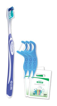 Adult SuperTip Patient Pack Includes: 144 GUM® SuperTip Adult Toothbrushes, 144 Eez-Thru Vitamin E & Fluoride Flosser 3-Packs, 144 Clear Patient Bags/bx