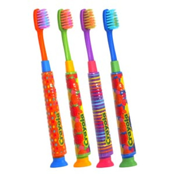 GUM® Crayola™ Deep Clean Toothbrush, Kids, Manual, Assorted Colors, Individually Packed, 1 dz/bx