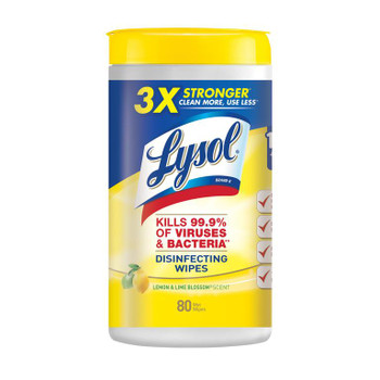 Lysol Disinfecting Wipes Lemon & Lime Blossom Scent 80pk Can