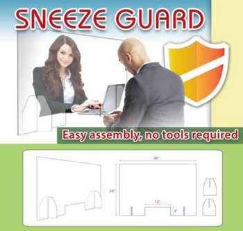 """Sneeze Guard 30""""x24"""" Clear with 12""""x3"""" opening"""