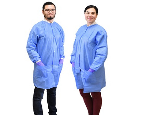 NIVO Coat, Medium, Blue, Disposable Lab Coats, Fluid Resistant, with Buttons, Package of 10.