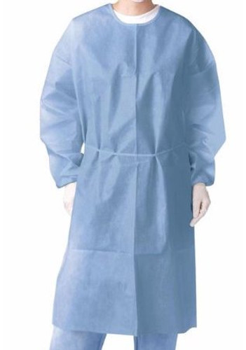 Nivo Isolation Gown, Non Woven and Extra PE outer layer, Blue, Knit Cuff, one size fits all, Bag of 10 (compares to Level II gown)