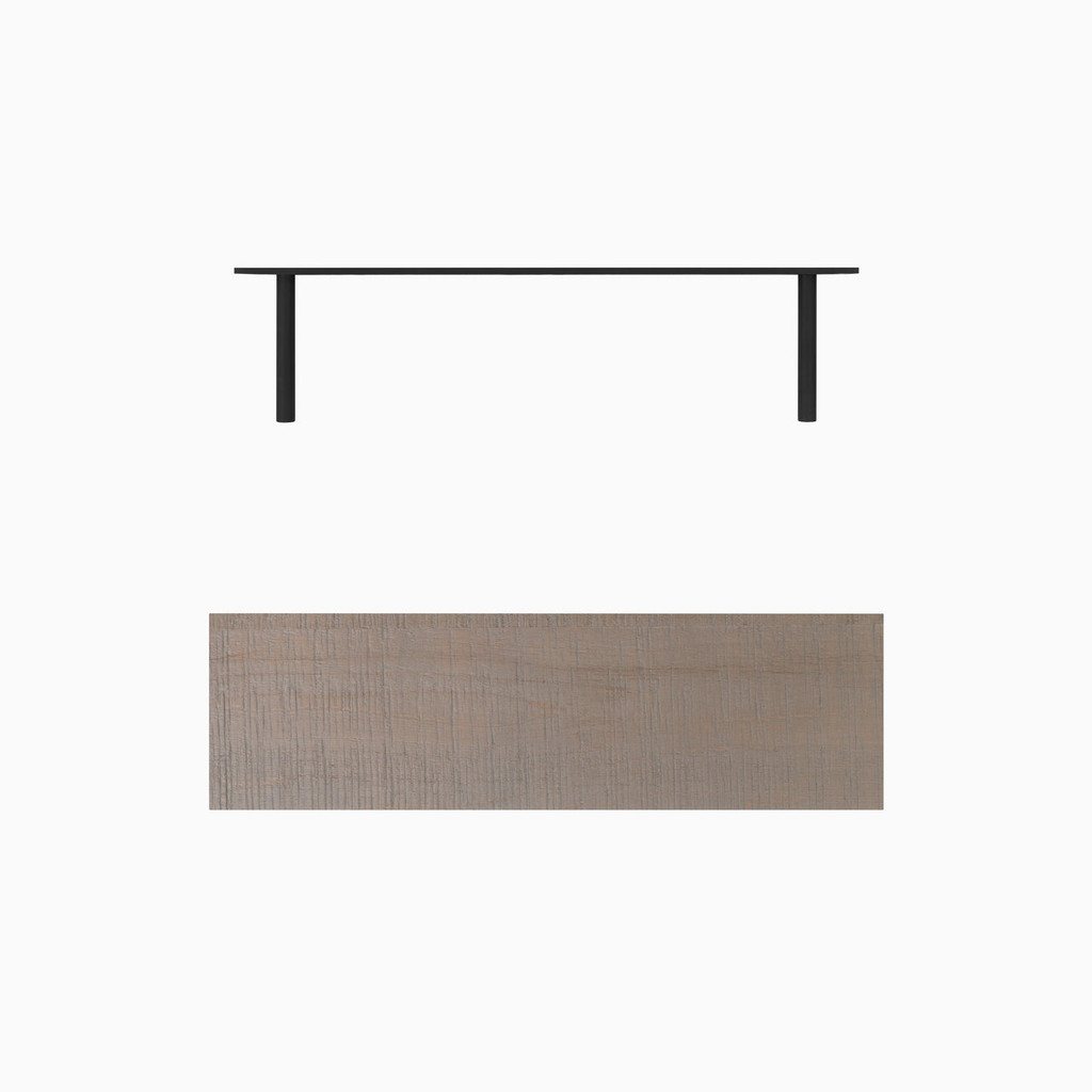 "Grey stained, bandsaw textured solid alder floating shelf. Choose any length from 12 to 84 inches. All shelf options are 2"" thick, available in 6"", 8"", 10"", and 12"" depths, and include heavy duty floating shelf bracket."