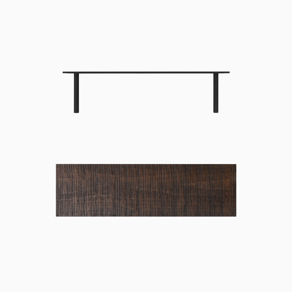 Dark brown stained, bandsaw textured solid alder floating wood shelves. Includes heavy duty concealed floating shelf bracket.