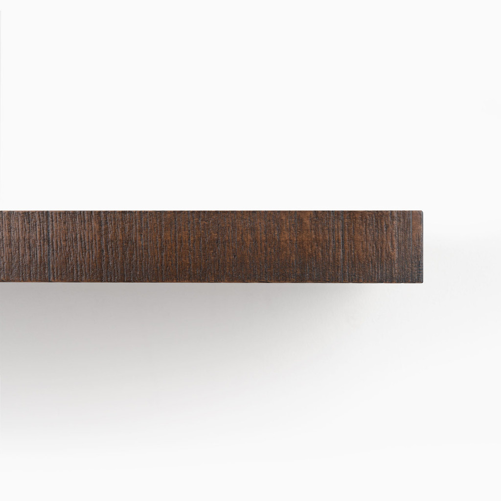 Front edge of our rough cut Espresso solid alder floating wood shelves.