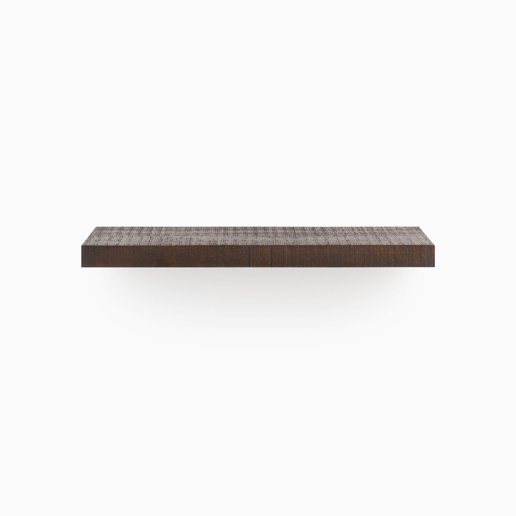 Our rough textured Espresso floating wood shelves is easy to install and will float real weight.