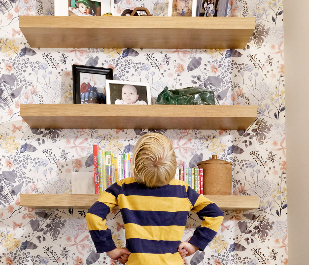 White oak floating wood shelves will dial up the rad-o-meter in any bedroom.