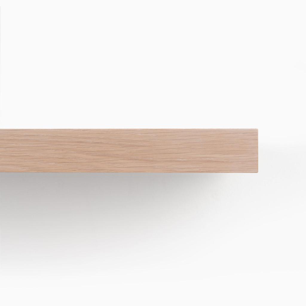 Front edge of our glaze finished white oak floating shelf.